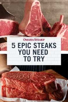 If you love steak, you need to try these 5 epic steak cuts! From Wagyu to Omaha-Cut Ribeye, these steak cuts are as impressive as delicious! Outdoor Cooking Recipes, Grilling Recipes, Wagyu Ribeye, Rib Eye Recipes, Omaha Steaks, Food Gift Baskets, Steak Cuts, How To Grill Steak, Food Gifts