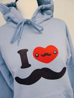 Mustache Hoodie  I Love Moustache Light Blue by theboldbanana, $28.00