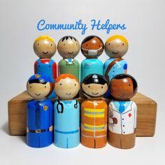 Gemeenschap Helpers Peg poppen Waldorf houten door RainbowPegDolls