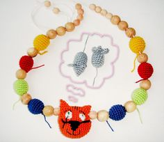 Nursing necklace Cat Baby toy from MiracleFromThreads  by DaWanda.com