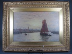 """George Stanfield Walters, British 1838-1924, oil on canvas,  Sailing Vessel Returning Home to a Dutch Harbour with  Townscape in the Distance, signed 13""""h x 19.75""""w"""