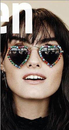 Isabella Manfredi Covers The Australian Magazine, Yen Magazine, May/June 2015 wearing Mercura NYC ruby, emerald, aqua, topaz, amethyst crystal heart sunglasses styled by Bex Sheers