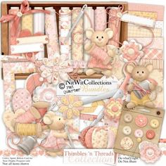 Digital scrapbooking cute sewing and card making cute sewing kit.  Our cute mouse needs something warm for the winter! FQB - Thimbles 'n Threads Collection