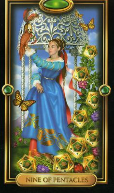 Nine of Pentacles P9 Reversed Nine of Pentacles Tarot Card Meanings In its reversed position, the Nine of Pentacles suggests that you may be suffering from financial setbacks or you have experienced a loss due to unwise decisions or foolish actions. Your foundations may be about to give way. If they do, learn from your mistakes and build a more solid and secure foundation next time.