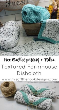 Crochet Tutorial Patterns Free Rustic Farmhouse Dishcloth Pattern - MJ's off the Hook Designs Easy beginner rustic farmhouse dishcloth crochet pattern Textured stitch with ribbed border Beau Crochet, Crochet Home, Knit Or Crochet, Crochet Gifts, Free Crochet, Dishcloth Crochet, Crochet Dishcloths Free Patterns, Knitted Washcloths, Wash Cloth Crochet Pattern