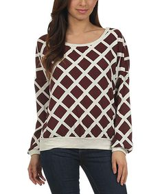Love this Brown Windowpane Dolman Top by Le Lis Collection on #zulily! #zulilyfinds