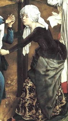 "Rogier van der  Weyden, 1438-40  (Vos, p. 211)  Detail from the Triptych of the Crucifixion 'Abegg triptych'  Fur lined purple kirtle over brocade undergown. Note the side and sleeve lacing and ""biblical"" headdress."