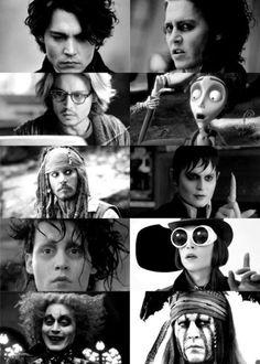 Ichabod Crane, Sweeney Todd, Mort Rainey, Victor Van Dort, Captain Jack Sparrow, Barnabas Collins, Edward Scissorhands, Willy Wonka, The Mad Hatter, & Tonto.