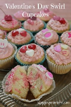 These Valentine's Day Swirl Cupcakes are really fairly easy to make and only have a few ingredients. Have your kids each make their very own designs and masterpieces.