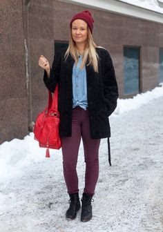 """""""I'm wearing a Makia beanie, a Seppälä jacket from the 70s, Zara jeans and Sabatini shoes.At the moment I like the colour burgundy and military style clothes. My friends are my idols."""""""