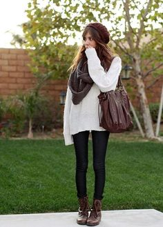 fall clothes : oversized sweaters, scarves, beanie, and boots