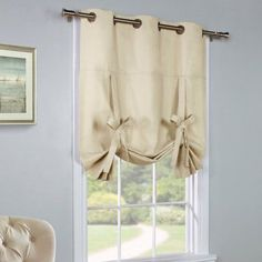 Alcott Hill Hopedale Curtain Grommet Tie-Up Single Curtain Panel Color: Tie Up Curtains, Home Curtains, Country Curtains, Lined Curtains, Grommet Curtains, Kitchen Curtains, Blackout Curtains, Tie Up Valance, Small Window Curtains