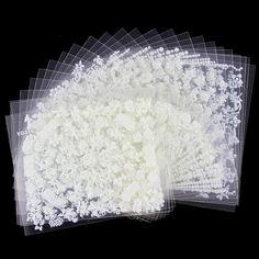 24 개/몫 아름다움 흰색 다른 디자인 반짝이 3D 네일 Stikcers Diy 네일 아트 장식 도구 매니큐어 손톱 JH165