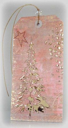 Tim holts gelli painting Golden Tree Cards and Paper Crafts at Splitcoaststampers Christmas Gift Tags, Christmas Paper, Pink Christmas, Xmas Cards, Christmas Projects, Handmade Christmas, Christmas Tree, Atc Cards, Christmas Ornament