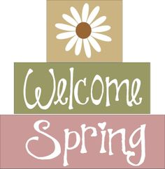NEW Welcome SPRING Daisy Flower Primitive Sign Blocks