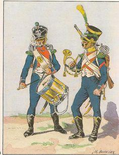 French; 17th Light Infantry, Chasseur Drummer & Voltigeur Cornet, Grande Tenue, 1808