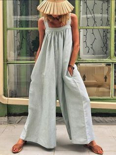 Casual Solid Sleeveless Spaghetti Jumpsuit Wide Leg Pants Product Casual Solid Sleeveless Spaghettie Jumpsuit Wide Leg Pants Brand Name juatredcoco SKU Gender Women Item Type Jumpsuit Pattern Type Solid Style Casual Occasion Beach,Holiday,D Look Boho, Latest Fashion Design, Casual Jumpsuit, Summer Jumpsuit, Jumpsuit Outfit, Striped Jumpsuit, Lace Jumpsuit, Jeans Jumpsuit, Summer Romper