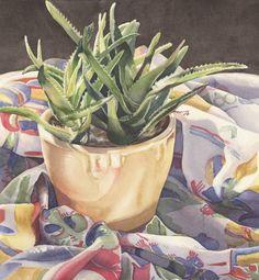 "Kathrine Lemke Waste, ""Aloe in a Yellow Pot"", 16"" x 14.75"""
