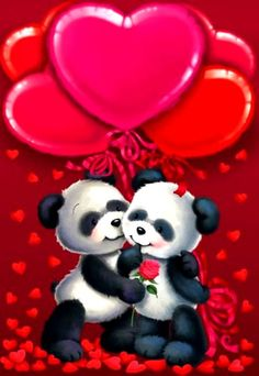Valentine's - Gabi Murphy Beautiful Love Pictures, Love You Images, Panda Love, Cute Panda, Panda Wallpapers, Cute Cartoon Wallpapers, Bear Wallpaper, Love Wallpaper, Calin Gif