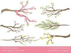 6 Branches Digital Clip Art. All files are (PNG transparent) High quality 300 dpi.  $5.99