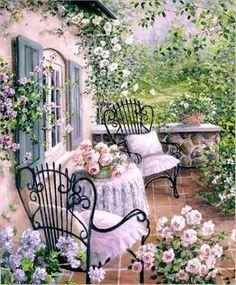 Pastel cottage garden