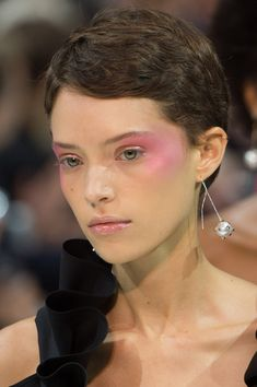 "Valentino SS18 Backstage Beauty | Pat McGrath swirled fuchsia blush along the cheekbones and at the temples for a bold take on blush ""draping"", finishing with highlighter for an iridescent effect. Get the look: SHOP Pat McGrath Labs MTHRSHP Subversive: La Vie En Rose Eyeshadow Palette at PATMcGRATH.com"