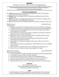 resume retail manager
