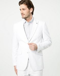 Linen Blend Contemporary Fit Blazer - A crisp linen blend blazer can pull any outfit together while keeping your look sharp. Tuxedo Suit, Tuxedo Wedding, Suit Jacket, Tuxedos, Blazer, Suits, Boutique, Coat, Sleeves