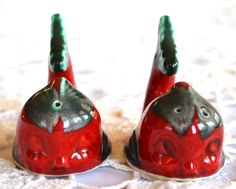 Vintage Christmas Red and Green Fish Salt and Pepper Shakers Great for Christmas Gifts