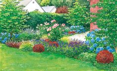 Blühender Sichtschutz für die Terrasse -  Diesem Gartenstreifen zwischen Rasen und Terrasse fehlt es an Farbe. Wir zeigen zwei Gestaltungsvorschläge, mit denen man aus dem kahlen Stück einen blühenden Sichtschutz zur Terrasse zaubert. Im Anhang finden Sie die passenden Pflanzpläne zum kostenlosen Herunterladen und Ausdrucken.