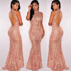 bb3b4655dd06 Glamorous Evening Dresses Pink Gold Sequins Gown