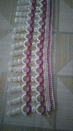 This Pin was discovered by Dil Baby Knitting Patterns, Crochet Doilies, Make It Yourself, Crochet Edgings, Crochet Motif, Crochet Table Runner, Embroidered Towels, Dish Towels, Knitting And Crocheting