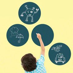 Chalkboard Circles by WallCandy Arts are the perfect place for children to write down their thoughts, leave you messages, create new drawings and bring new ideas to life. Fully reusable and easily removable, they are made from non-toxic vinyl that's BPA-, phthalate- and VOC-free.