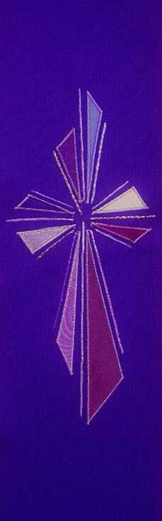 Purple Abstract cross church stole advent