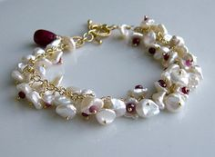 Ruby, Keishi Pearls, Gold - Bracelet