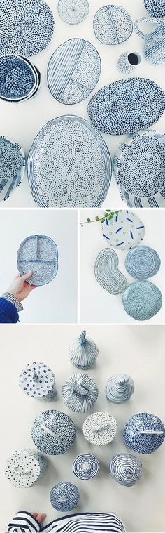 Amazing blue and white handmade ceramic dishes. Ceramics by Chloe May Brown Amazing blue and white handmade ceramic dishes. Ceramics by Chloe May Brown Ceramic Clay, Ceramic Plates, Ceramic Pottery, Slab Pottery, Keramik Design, Arts And Crafts, Diy Crafts, Tree Crafts, Paperclay