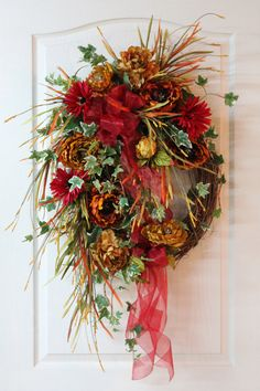 Lg. Fall Front Door Wreath, Beautiful Flowers, Eye Catching Fall Colors, Colorful Grass, Ivy, Unique Fall Decoration -- FREE SHIPPING. $180.00, via Etsy.