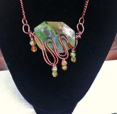 Copper Wire Wrapped Gemstone Necklace by VintageMemoryJewelry, $38.00