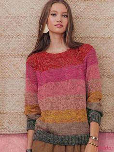 Free Crochet Sweater Pattern For Women Sweater Knitting Patterns, Knitting Designs, Knit Patterns, Hand Knitting, Knitting Sweaters, Cute Sweaters, Sweaters For Women, Handgestrickte Pullover, Mohair Sweater