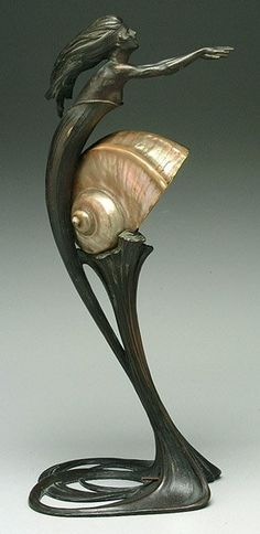 Bronze and shell lamp by Gurschner