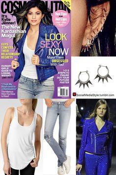 Buy Kylie Jenner's Cosmopolitan Spike Hoop Earrings, White Tank Top, Distressed Jeans, and Embellished Blue Jacket, here!
