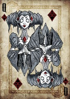 Queen of Diamonds, Dark Art Playing Cards by Noah Whippie