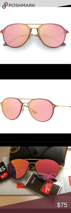 f136180ffc New Ray-Ban New Ray-Ban Frame material  Injected Frame color  Gold Lenses   Pink Mirror SIZE Shape  Round Size Lens-Bridge  62 14 Temple Length  145  Made in ...