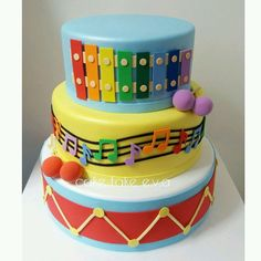 Music Birthday Cakes, Baby 1st Birthday Cake, Toddler Birthday Cakes, 1 Year Old Birthday Party, Music Cakes, Birthday Party Themes, Music Themed Parties, Music Party, Bolo Musical