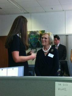 """3/15/2013  Sky's Paul Harrisonkindly shared photos from the visit including this one of Kate chatting too British food writer and television presenter Mary Berry who is also a patron of Child Bereavement UK. The Duchess told Mary she is """"a big fan of her cookbooks and cakes""""."""