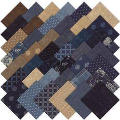 Moda Indigo Charm Pack, Set of 42 5-inch (12.7cm) Precut Cotton Fabric Squares