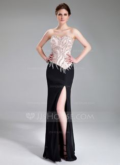 Evening Dresses - $182.99 - Sheath/Column Sweetheart Floor-Length Chiffon Charmeuse Evening Dress With Beading Sequins Split Front (017019560) http://jjshouse.com/Sheath-Column-Sweetheart-Floor-Length-Chiffon-Charmeuse-Evening-Dress-With-Beading-Sequins-Split-Front-017019560-g19560