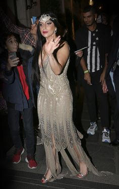 The amazing Lady Gaga was a retro queen in a sparkling #RobertoCavalli evening dress in Paris!