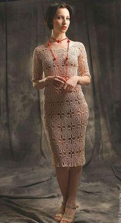 Схема вязания вечернего платья. Вечернее платье из мотивов вязаное крючком |