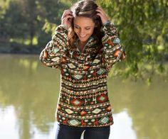 Southern Marsh Harbuck Fleece Quarter Zip Pullover with Aztec Print in Grey
